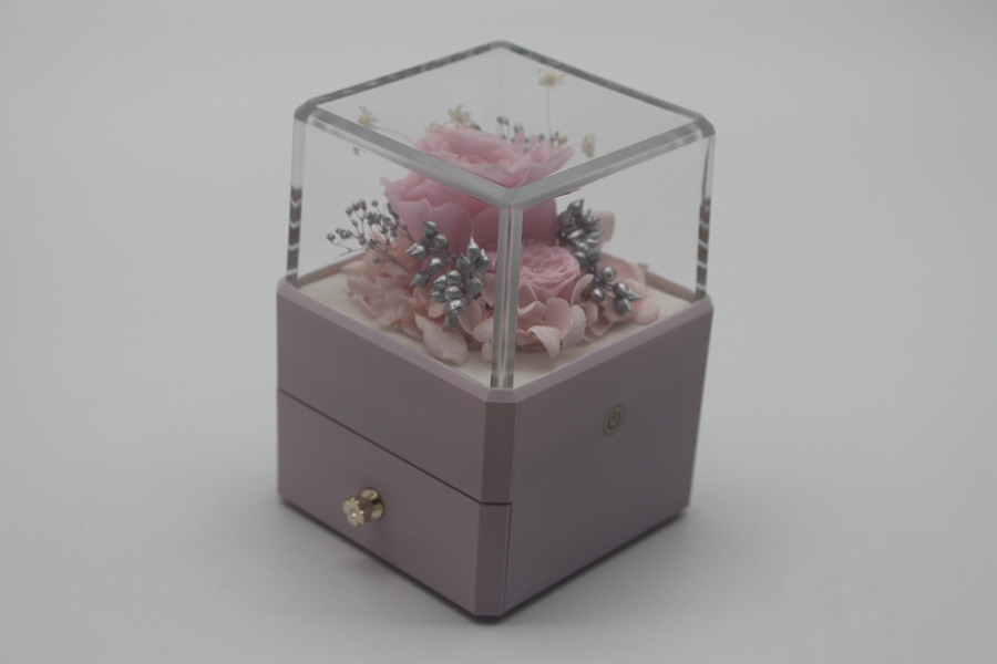 ZTB-129 small size pink color square shaped jewelry gift box for valentine's day with led lights