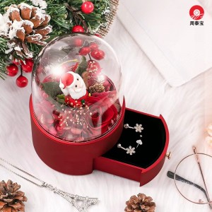 ZTB-144 High end jewelry gift box with eternal flower for Christmas season