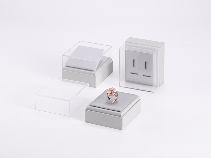 ZTB-122 elegant plastic jewelry display box with clear acrylic cover and window