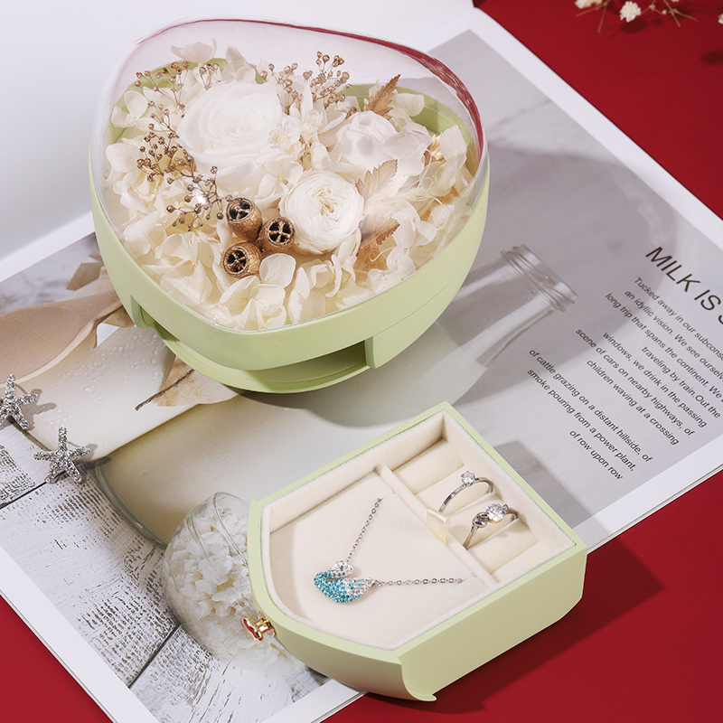 ZTB-142 Heart Shaped Tumbler Function Jewelry Gift Box With Eternal Flower For Engagement  Gift
