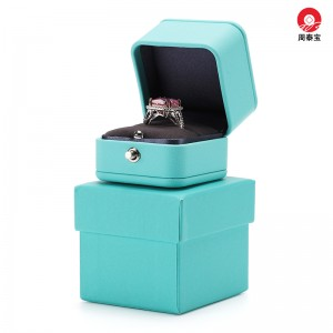 ZTB-148 Fancy romantic blue color PU box for ring packaging for engagement,anniversary ,wedding