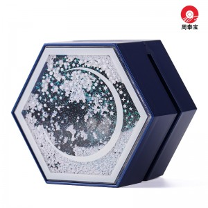 ZTB-141 new design plastic hexagonal quicksand clamshell box for jewelry gift packaging