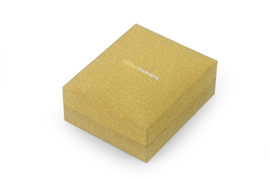 JH-013 glossy golden color plastic jewelry gift box with flip structure