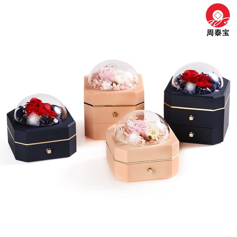 ZTB-127 New Design Blue Color Octagonal Double Drawer Eternal Flower Jewelry Box Eternal Flower Lipstick Case