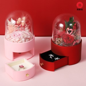 ZTB-144B High-end jewelry gift box for valentine's day with eternal flower and flamingo