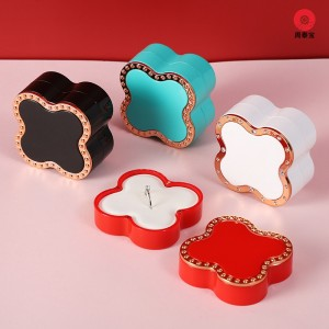 ZTB-147  Four leaf clover shaped jewelry box ,two piece Magnetic style jewelry box