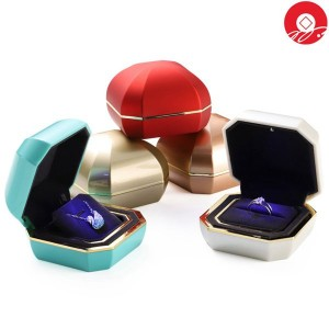 ZTB-137 Unique Antique glaze style jewelry gift box with led lights and golden frame  for valentine's day