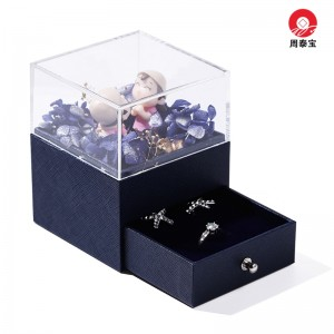 ZTB-139 single layer drawer jewelry gift box with cartoon doll and eternal flower for valentine's day ,anniversary