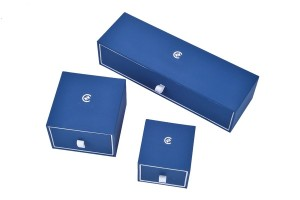 JH-012  blue color plastic jewelry gift box with drawer function and structure
