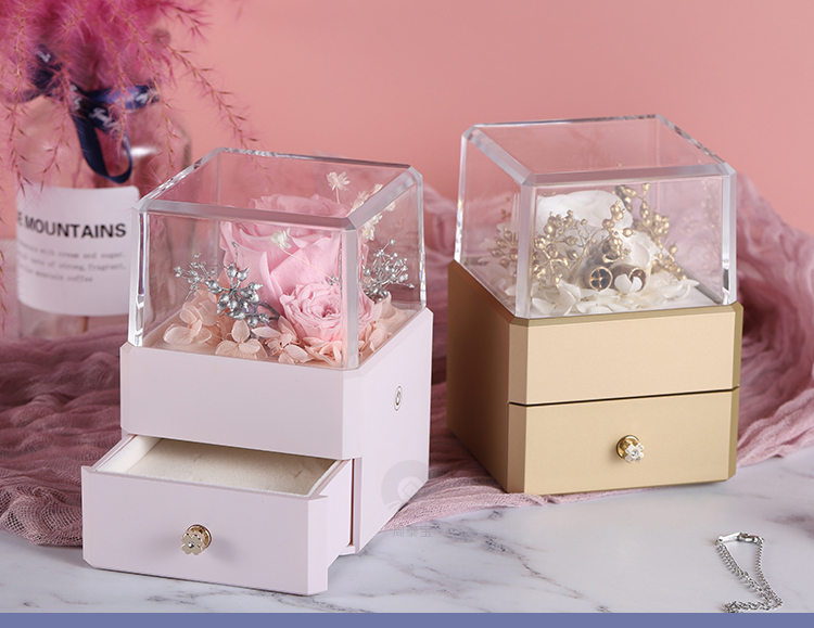 ZTB-129 small size gold color square shaped newest jewelry  box for valentine's day with led lights