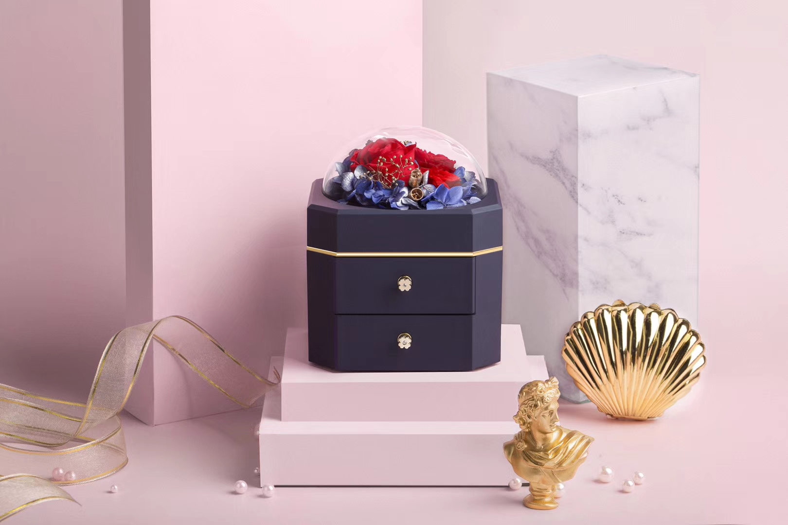 ZTB-127 New design and patented jewelry gift box with flower for 2020