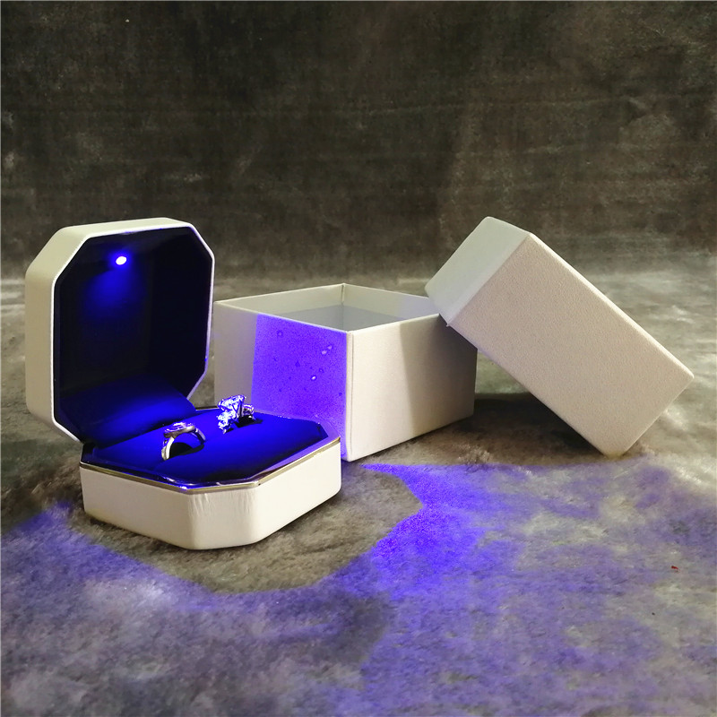 ZTB-013-A2-fancy LED light up double couple ring gift box for propose engagement and wedding