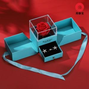 ZTB-162 double door opening jewelry gift box with rose flower