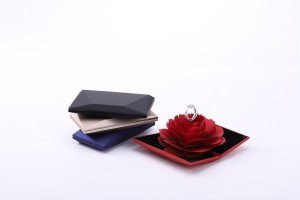 ZTB-011B book shaped ring box with rose flower as jewelry ring gift case