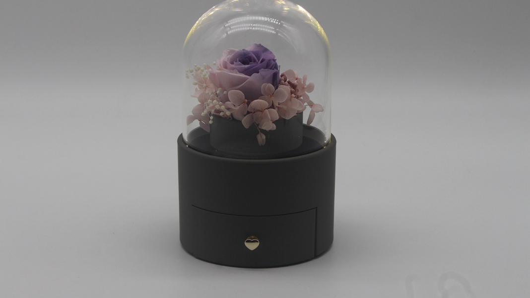 ZTB-128 Cylindrical shaped jewelry storage box with flower for valentine's day
