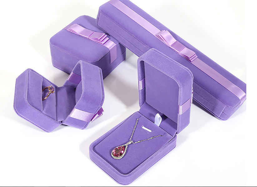 ZTB-062 purple color flannnel jewelry gift box with bow tie for ring pendant storage