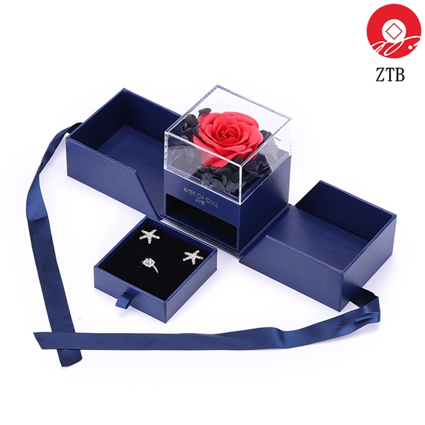 ZTB-008 romantic jewelry gift box with flower good as gift for valentine's day