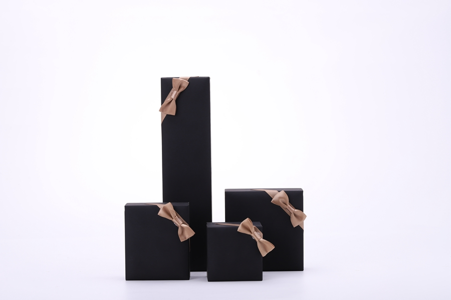 ZTB-048 black color special paper touch feeling jewelry box with ribbon
