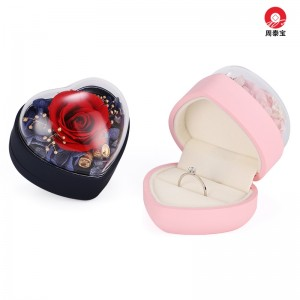 ZTB-146 mini flip structure heart shaped jewelry gift box with eternal flower for valentine's day and engagement