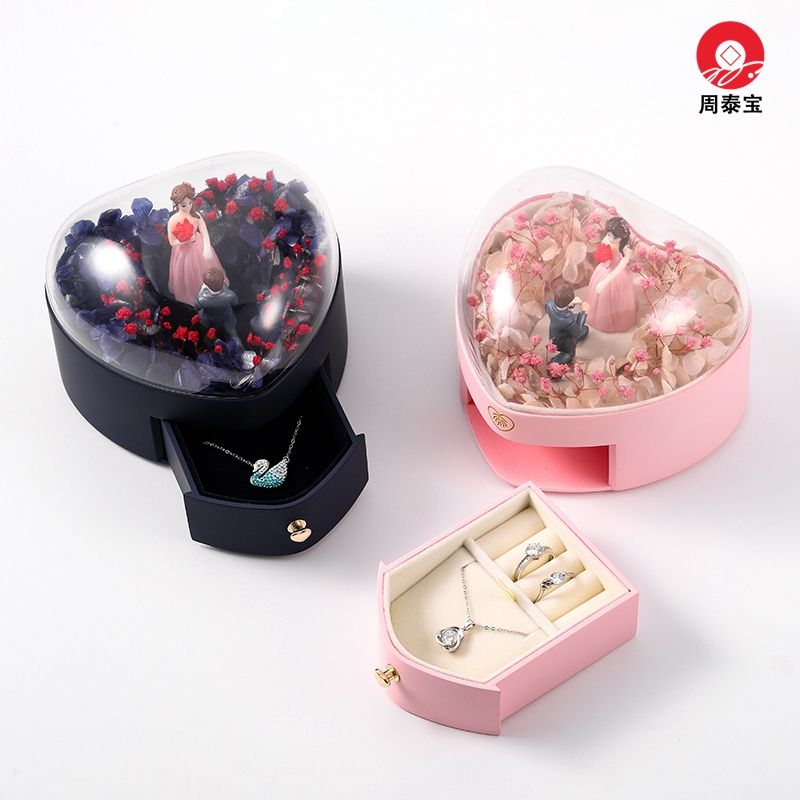 ZTB-138 newest design of heart shaped jewelry gift box with eternal flower and couple dolls for valentine's day,engagement and anniversary