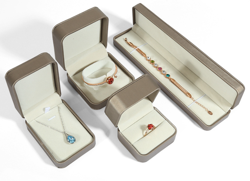 ZTB-064 High quailty wiredrawing effect PU jewelry gift box for jewerly display