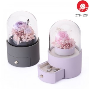 ZTB-128 blue cylindrical shaped eternal flower jewelry box with rotating flower for valentine's day