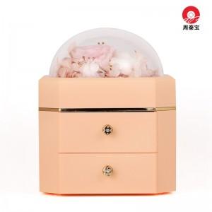 ZTB-127 Pink Color Octagonal Double Drawer Eternal Flower Jewelry Box Eternal Flower Lipstick Case