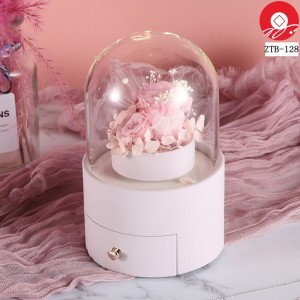 ZTB-128 blue cylindrical shaped  newest jewelry box with rotating flower for valentine's day