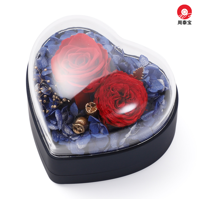 ZTB-145 middle size flip structure heart shaped jewelry gift box with eternal flower for Valentine's Day and engagement