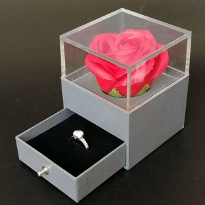 ZTB-008 transparent acrylic valentines gifts ring box with rose flower  and drawer