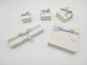 ZTB-039 Cardboard lid and base Jewelry gift Box with ribbon knot for Anniversaries, Weddings, Birthdays