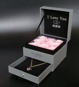 ZTB-010 Valentine's Day gift double layer plastic pendant box with flower and drawer