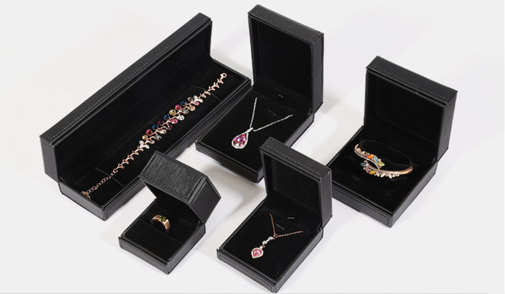 ZTB-067 black color PU jewelry gift case box with sewing treatment
