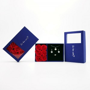 ZTB-132 blue color cardboard jewelry set storage box with rose flower for engagement ring pendant
