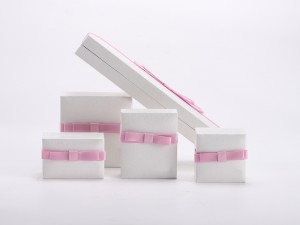 ZTB-110 plastic hinged jewelry box with ribbon