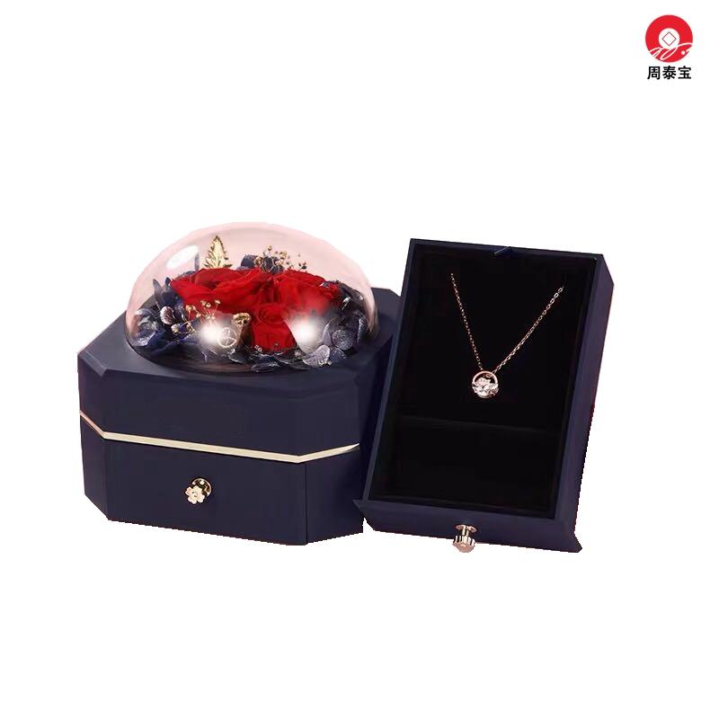 ZTB-127B  Octagonal Single Drawer Eternal Flower Jewelry Box Eternal Flower Lipstick Case