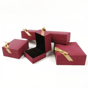 ZTB-048 Special paper touch feeling plastic jewelry gift box case with ribbon