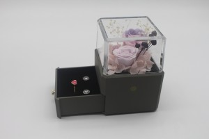 ZTB-129 small size gray color square shaped jewelry display box for valentine's day with led lights