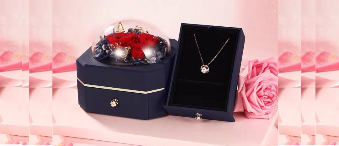 jewelry gift box with eternal flower