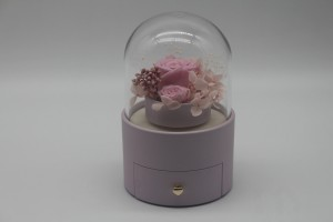 ZTB-128  pink cylindrical shaped jewelry display box with flower for valentine's day