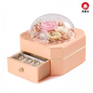 ZTB-127B  Pink color Octagonal Single Drawer Eternal Flower Jewelry Box Eternal Flower Lipstick Case