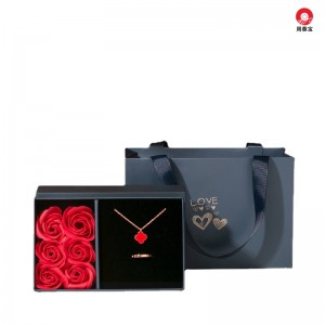 ZTB-150 two piece cardboard jewelry gift box with transparent window and 6 rose flowers