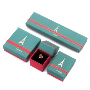ZH05-005 High end  two pieces paper cardboard jewelry display box with ribbon