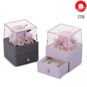 ZTB-129  New innovation jewelry  box with transparent cover and eternal flower for valentine's day with led lights