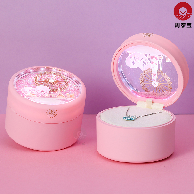 ZTB-169 LED lighted jewelry gift box with ferris wheel, glitter powder, sequins, quicksand element for your lover