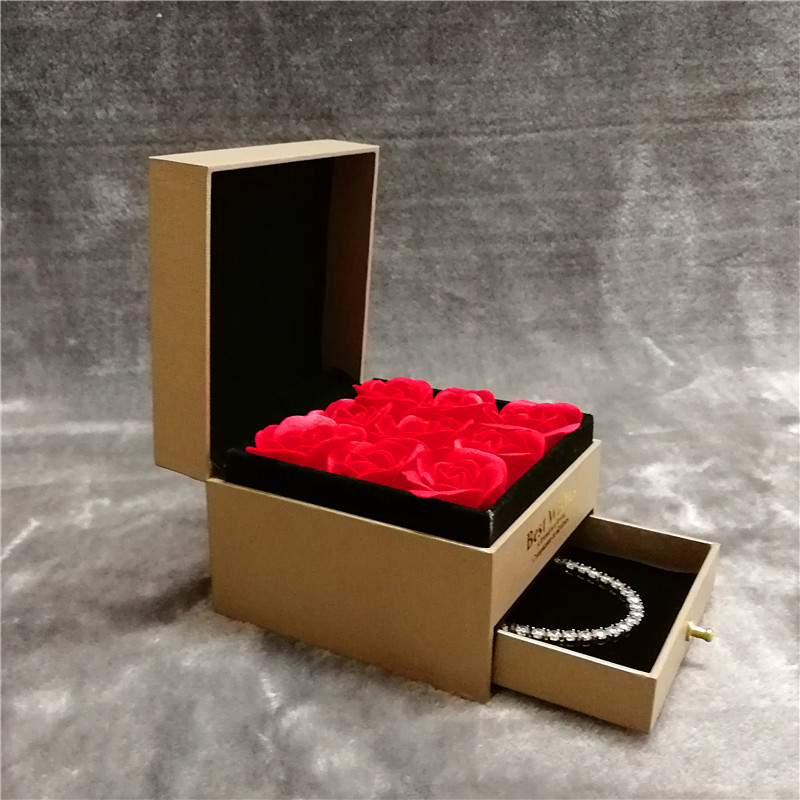 ZTB-009-high end plastic jewelry gift box for pendant and bracelet with rose flower and drawer
