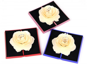 ZTB-011 (white) book shaped white rose ring box for  wedding ring jewelry gift box