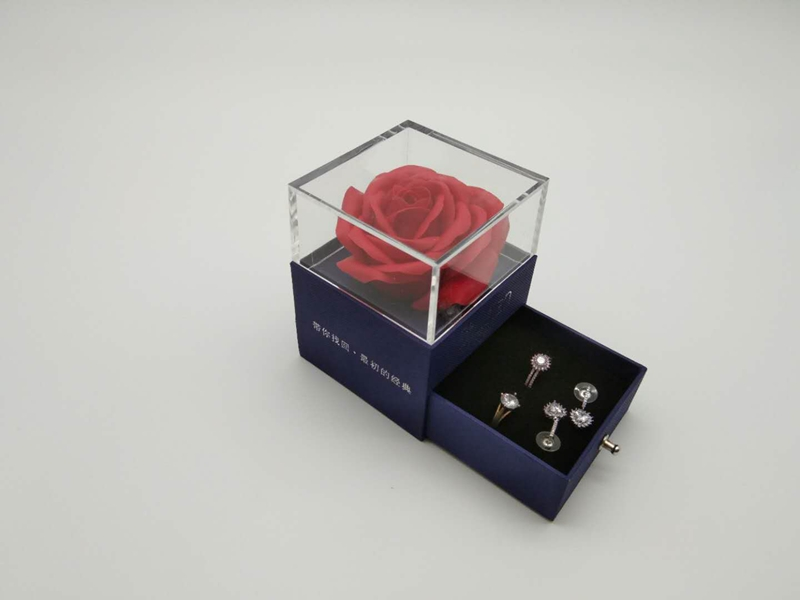 ZTB-008  blue color romantic beauty red rose jewelry box with drawer for valentine's day gift